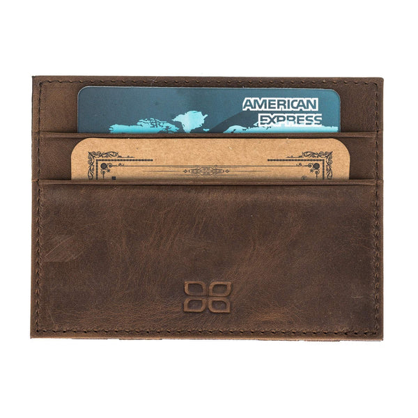 Cryptic Leder Card Holder Wallet - Antic Brown