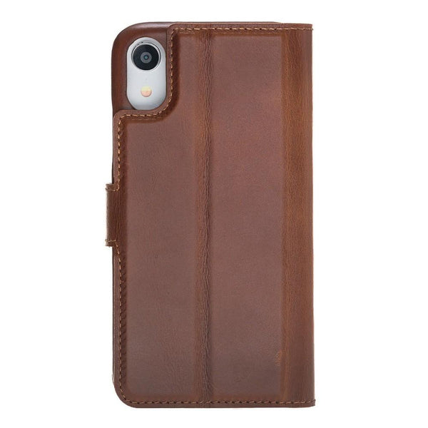 F360 Magnetic Afneembare Leder Wallet Case voor Apple iPhone XR - Rustic Tan met Effect