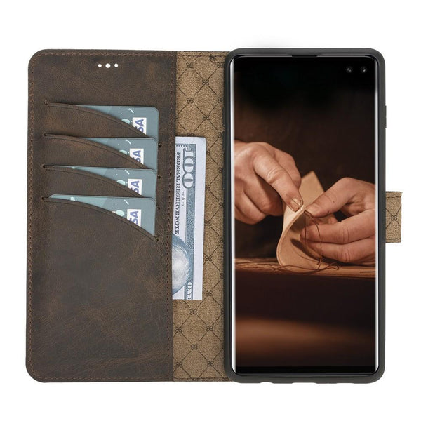 Magnetische Afneembare Leder Wallet Case voor Samsung Galaxy S10 Plus - Antic Brown