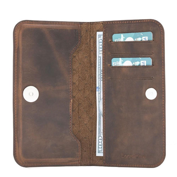 Universal Lissabon Clutch Leder Phone Case tot iPhone XS MAX - Antic Brown