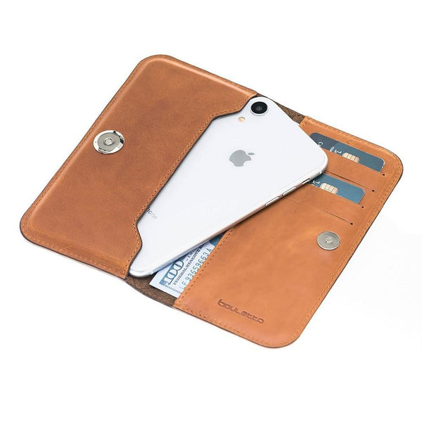 Universal Lissabon Clutch Leder Phone Case tot iPhone XS MAX - Rustic Tan