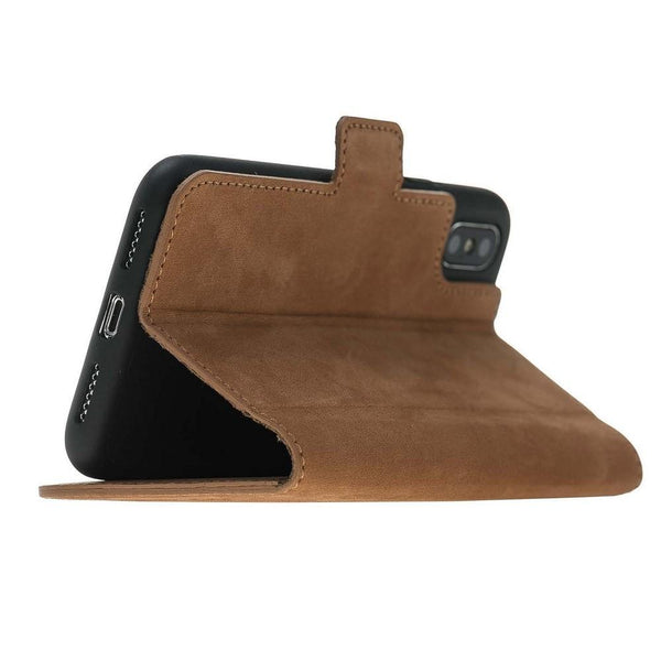 Wallet Leder Case New Edition met ID-slot voor Apple iPhone X / XS - Nubuck Tan