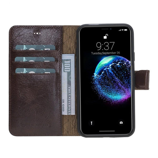 Wallet Folio Leder Case met ID slot voor Apple iPhone X / XS - Vesselle Brown