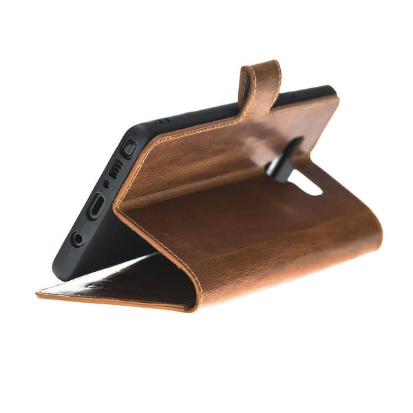 Wallet Folio Leder Case met ID slot voor Samsung Galaxy Note 9 - Vegetal Brown