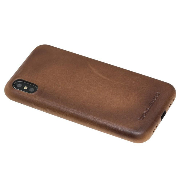 Leder Ultra Cover Snap On Back Cover voor Apple iPhone X / XS - Rustic Tan met Effect