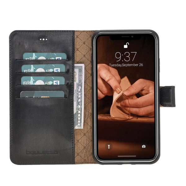 Magnetische Afneembare Leder Wallet Case voor Apple iPhone X / XS - Vegetal Black
