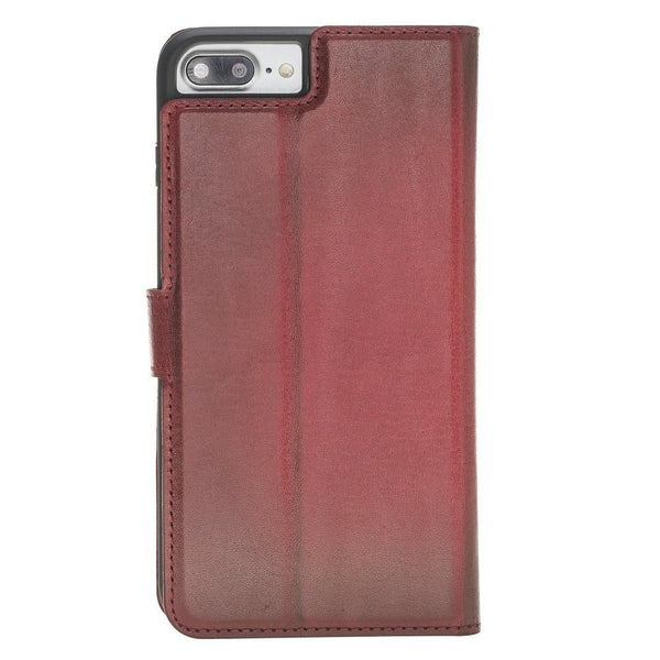 Magnetische Afneembare Leder Wallet Case voor Apple iPhone 7 Plus / 8 Plus - Vegetal Burnished Red