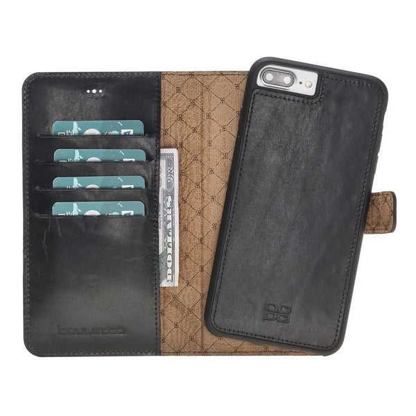 Magnetische Afneembare Leder Wallet Case voor Apple iPhone 7 Plus / 8 Plus - Vegetal Black