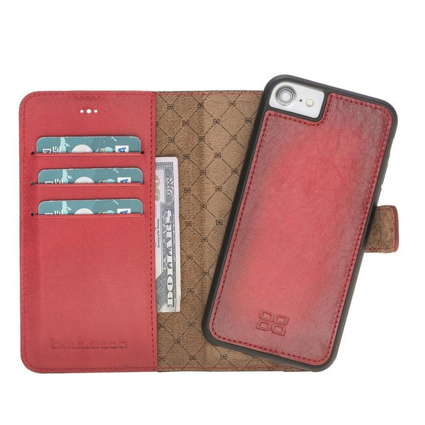Magnetische Afneembare Leder Wallet Case voor Apple iPhone 7/8 - Vegetal Burnished Red