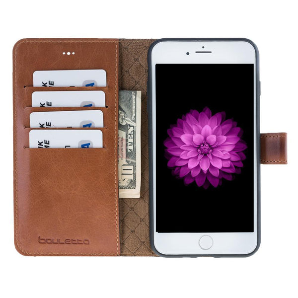 Magnetische Afneembare Leder Wallet Case voor Apple iPhone 7 Plus / 8 Plus - Rustic Tan met Effect