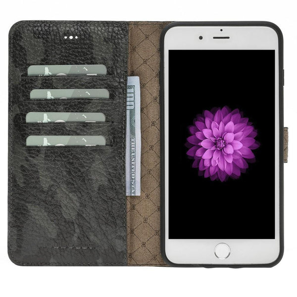 Magnetische Afneembare Leder Wallet Case voor Apple iPhone 7 Plus / 8 Plus - Camouflage Gray
