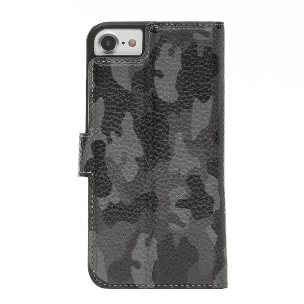 Magnetische Afneembare Leder Wallet Case voor Apple iPhone 7/8 - Camouflage Black