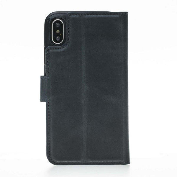 Magnetische Afneembare Leder Wallet Case voor Apple iPhone X / XS - Crazy Dark Blue