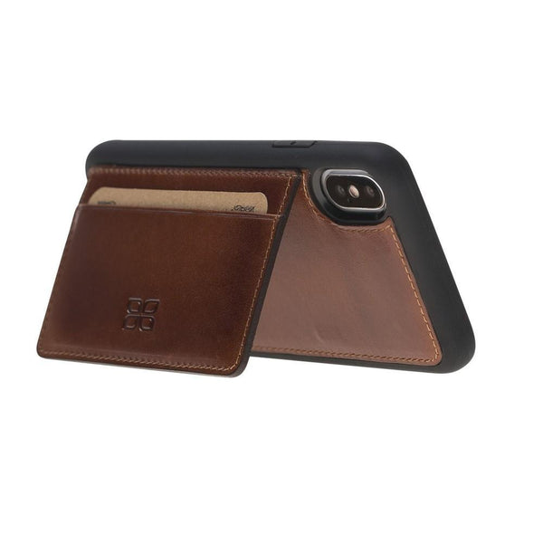 Flex Stand Cover Leder Case voor iPhone X / XS - Rustic Tan met Effect