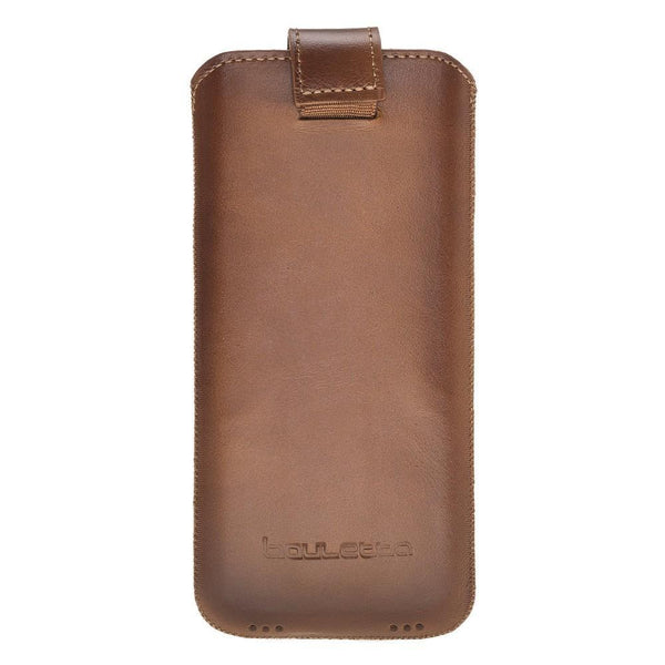 Insteekhoesje Leder Case iPhone XS MAX - Rustic Tan met Effect