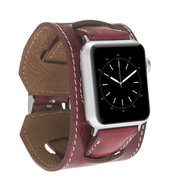 Ledermanchetten Horlogeband voor Apple Watch 42mm / 44 mm - De gepolijste Rode