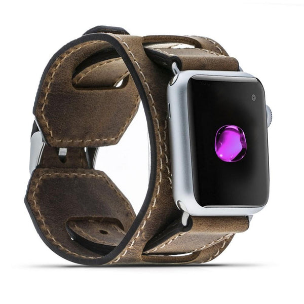 Ledermanchetten Horlogeband voor Apple Watch 42mm / 44 mm - Antic Brown
