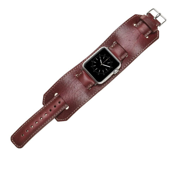 Leder horloge manchet armband voor Apple Watch 38mm / 40 mm - De gepolijste Rode