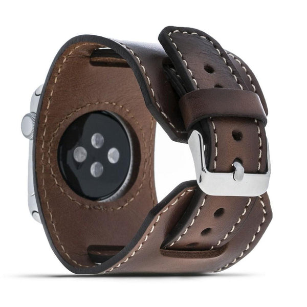 Leder horloge manchet armband voor Apple Watch 38mm / 40 mm - Rustic Tan met Effect