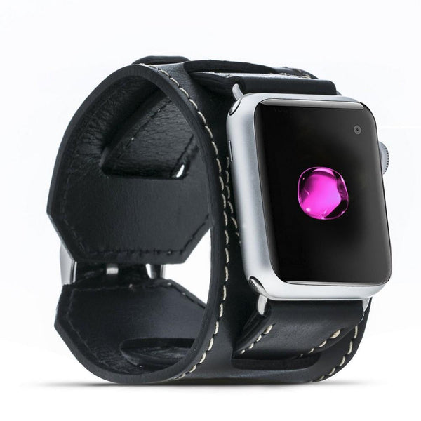 Leder horloge manchet armband voor Apple Watch 38mm / 40 mm - Rustic Black