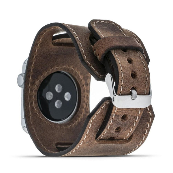 Leder horloge manchet armband voor Apple Watch 38mm / 40 mm - Antic Brown