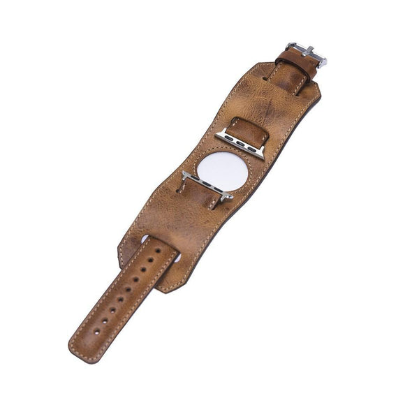 Leder horloge manchet armband voor Apple Watch 38mm / 40 mm - Vegetal Tan
