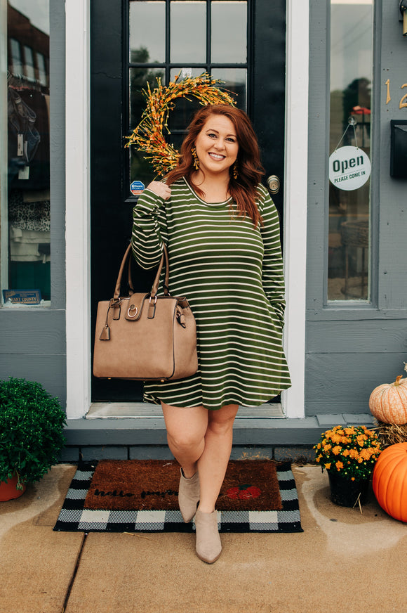 Green and White Striped Dress