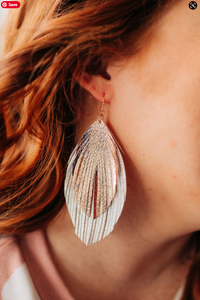 Gold and Rose Gold Leather Feather Earrings