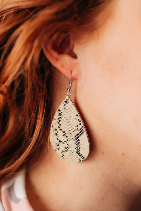 Beige Snakeskin Leather Earrings