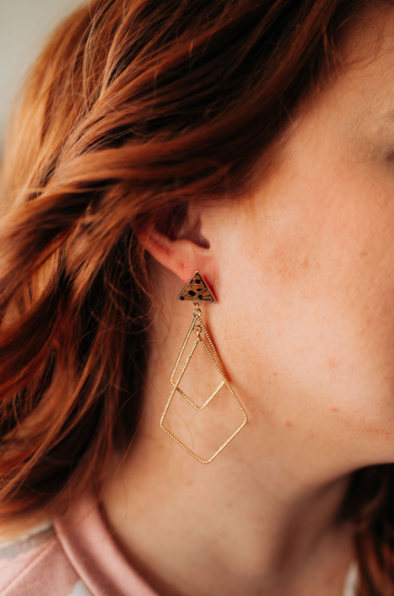 Cheetah Print Triangle Dangle Earrings