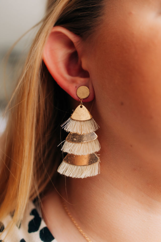 Ivory Layer Fan Earrings