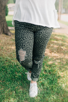 Olive Leopard Distressed Joggers