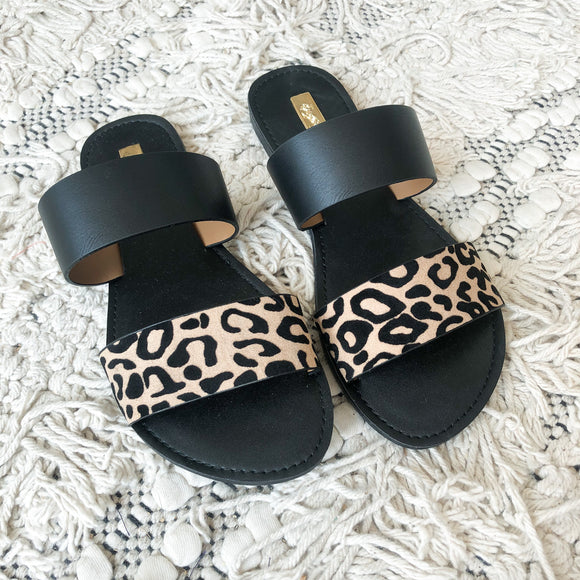 Black and Leopard Slide Sandals