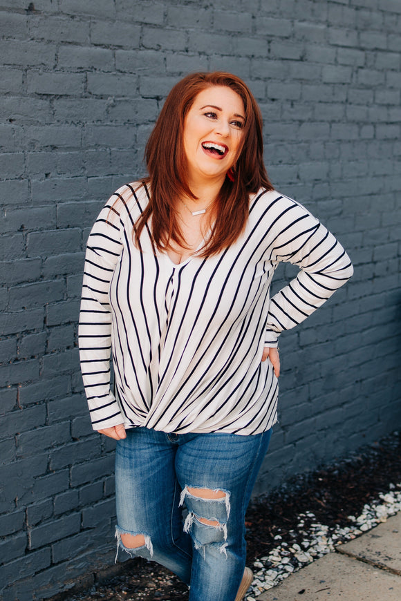White Stripe Knot Top