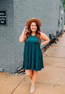 Hunter Green Tiered Sleeveless Dress