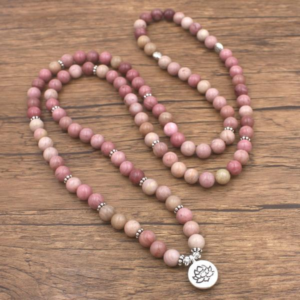 Collier de méditation en rhodonite