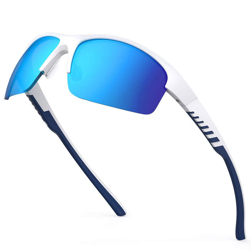 【50% off with code: 5I3CXQVN on Amazon】TR90 Ice Blue Frame Polarized Revo Lens Anti UV Sports Sunglasses
