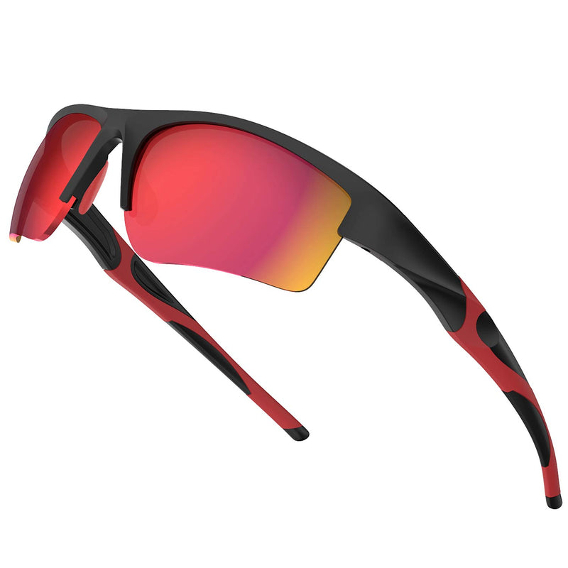 【50% off with code: 5I3CXQVN on Amazon】TR90 Red Polycarbonate Lens Lightweight Sports Sunglasses