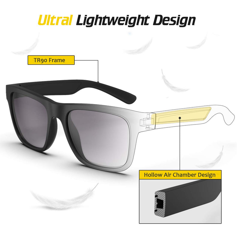 TR90 Lightweight Black PC lens 100% UV Protection Floating Sports Sunglasses