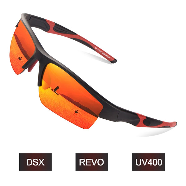 TR90 Red Polycarbonate Lens Lightweight Sports Sunglasses