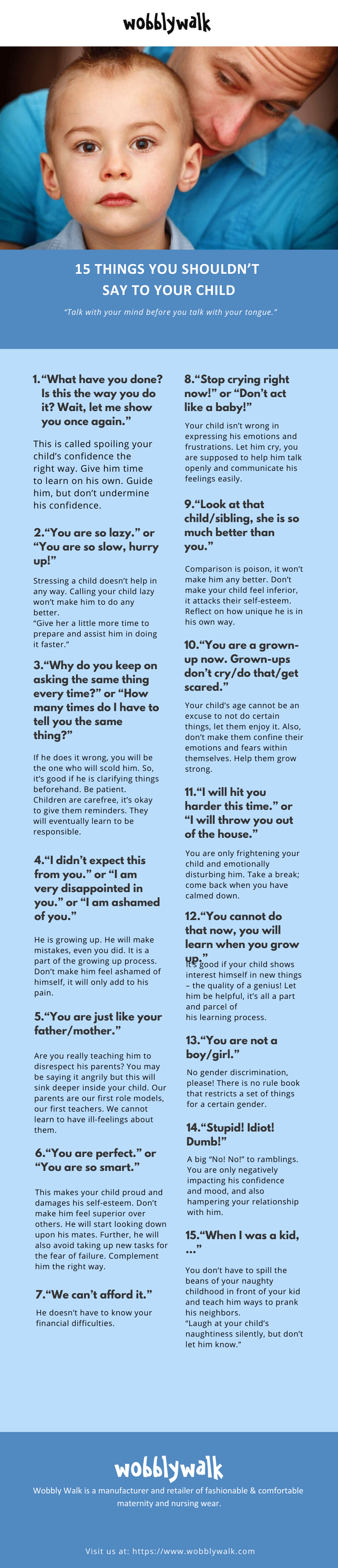 Things to Never Say to Child - Infographic