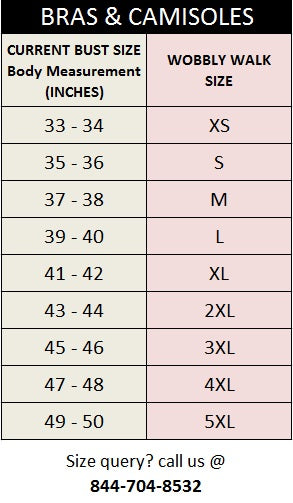 Maternity Bras & Camisoles Size Chart