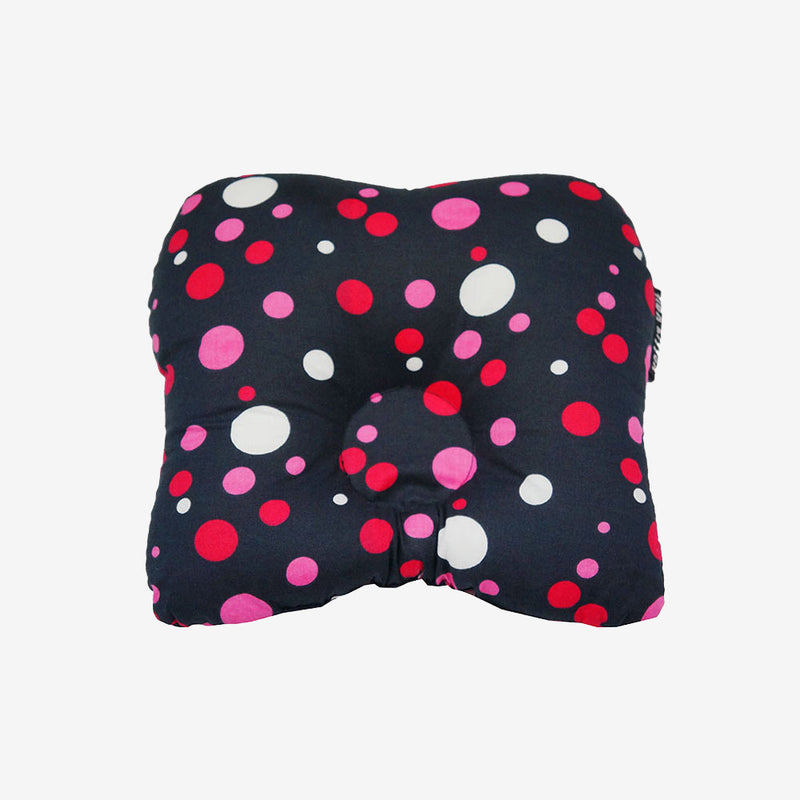 Baby Head Shape Pillow Polka Dots Black