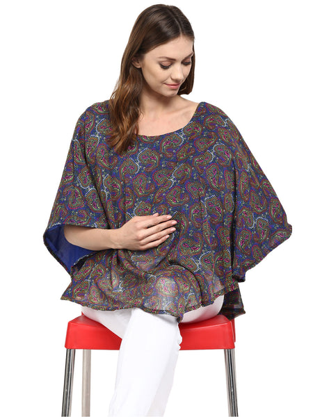 Poncho for Maternity & Nursing Georgette Blue