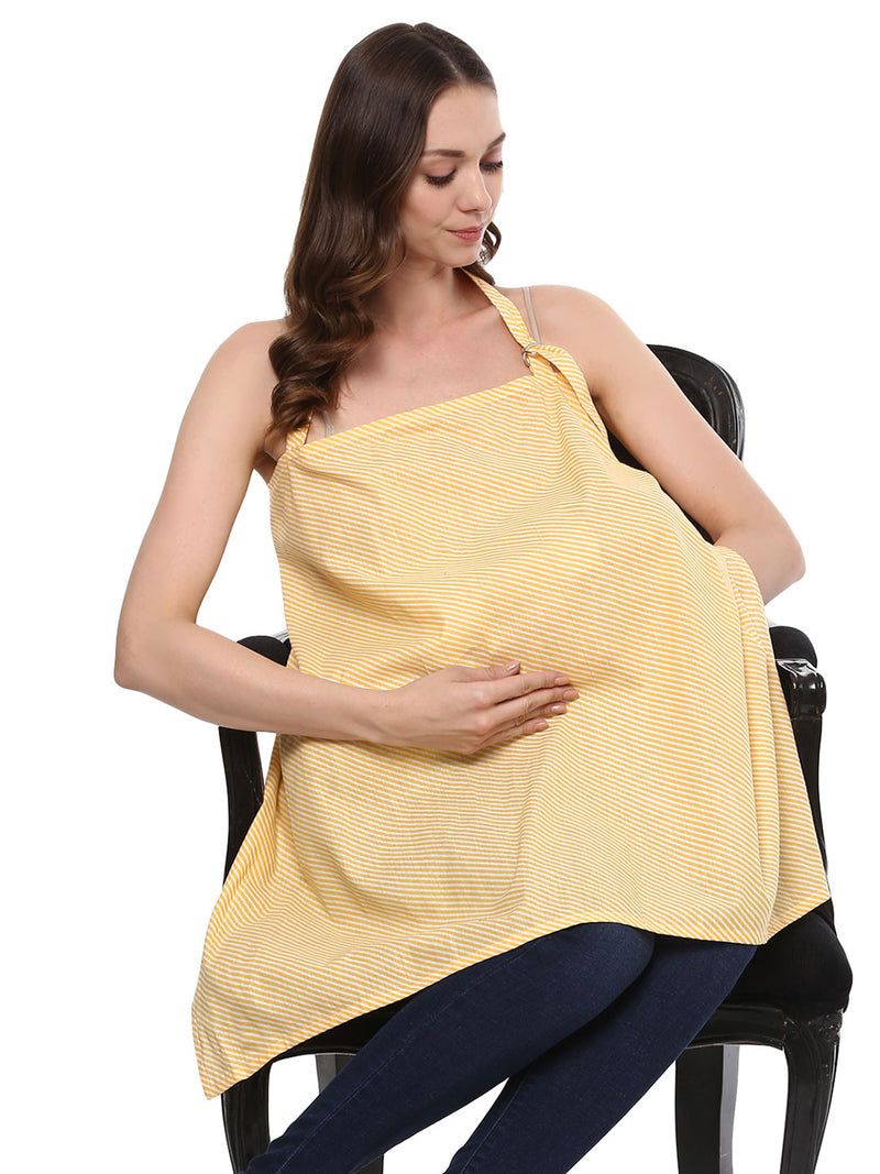 Nursing Cover Yellow & White Stripes