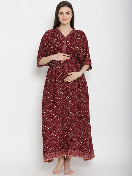 Buttoned Half Placket Maternity & Nursing Nightgown