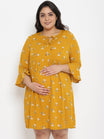 Plus Size Maternity Dress Split Neck Mustard Floral Print