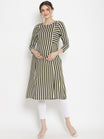 Green Striped Maternity Kurta