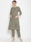 2pc. Green Striped Maternity Kurta With Pants