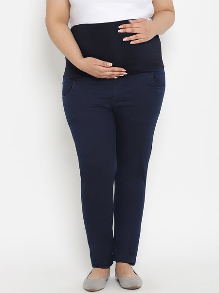 High-Rise Plus Size Maternity Jeans- Blue